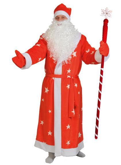 Дед Мороз красный со звездами плюш