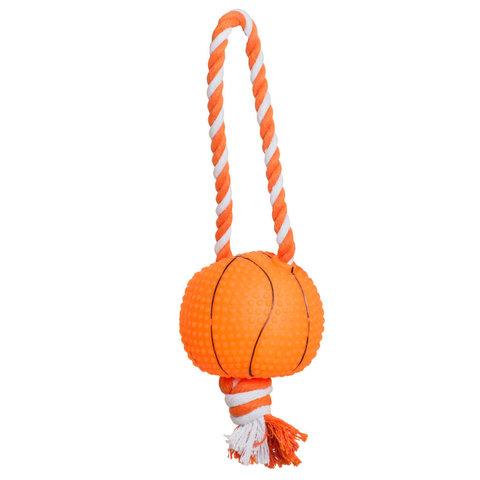 YUGI мяч с веревкой красный винил 8,5*35см