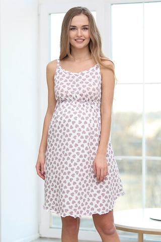 Сорочка для беременных и кормящих 12725 белый-лиловый