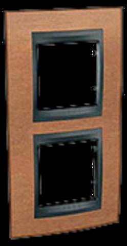 Рамка на 2 поста, вертикальная. Цвет Вишня-графит. Schneider electric Unica Top. MGU66.004V.2M2