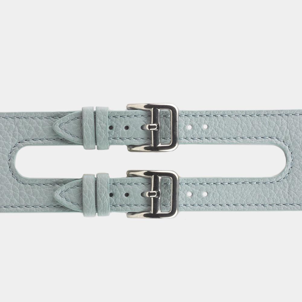Ремешок для Apple Watch 42мм ST Double Buckle из натуральной кожи теленка, голубого цвета