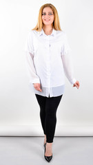 Нурі. Весняна блуза плюс сайз. Білий.