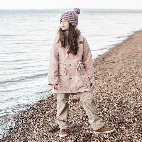 Demi-season parka with fur for teens - Blush