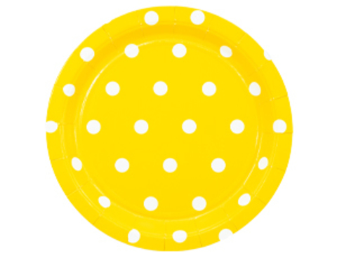 Тарелка Горошек желтая 17см 6шт/G