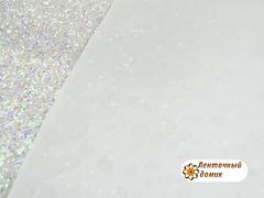 Эко-кожа глиттерная Сияние Геометрия белая с переливом (УЦЕНКА)