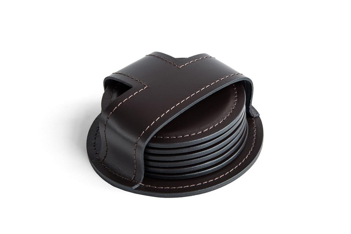 Набор костеров 6 шт. Classic, кожа/металл