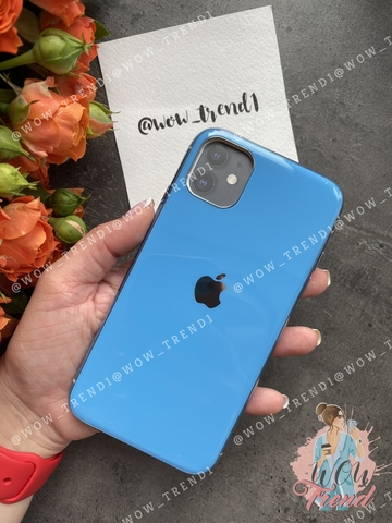 Чехол iPhone 11 Pro Max Glass Silicone Case Logo /blue/