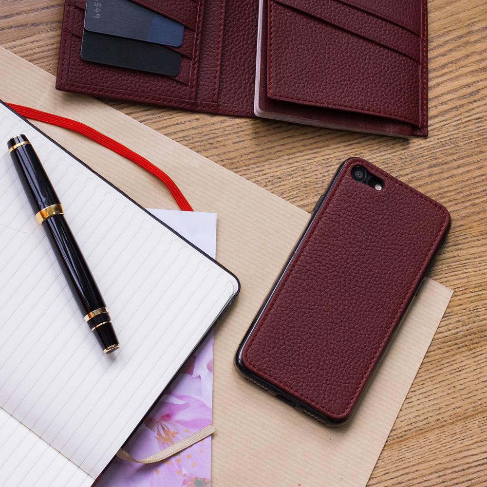Чехол-накладка для iPhone 8/SE из натуральной кожи теленка, бордового цвета