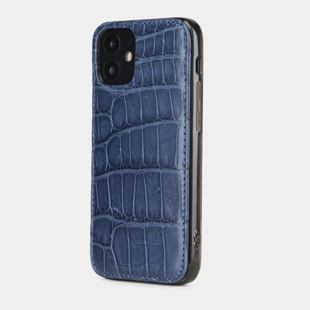 Special order: Чехол-накладка для iPhone 12 Mini из натуральной кожи крокодила, синего цвета