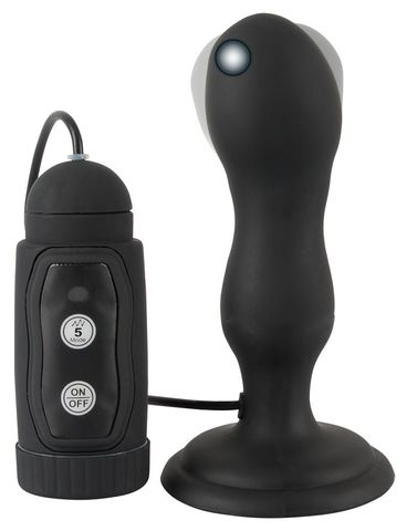 Черная анальная вибропробка с вращением Butt Plug - 13,6 см.