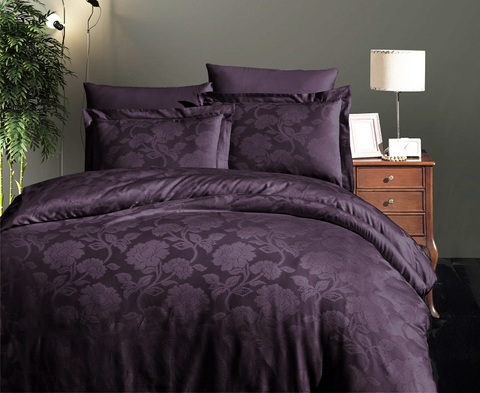 Комплект постельного белья DO&CO Сатин  жаккард PERLA 2 спальный (Евро) цвет фиолетовый