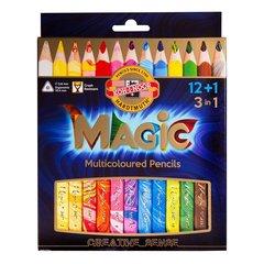Набор 12 утолщенных многоцветных карандашей MAGIC и 1 карандаш-блендер в картонной коробке.
