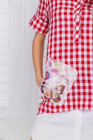 Платье-рубашка в клетку, с апликацией и камнями 2