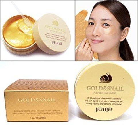 Гидро-гелевые патчи  с муцином улитки и золотом Petitfee Hydro Gel Eye Patch Gold & Snail