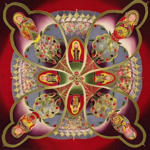 Шелковый платок Русский сувенирный С-60