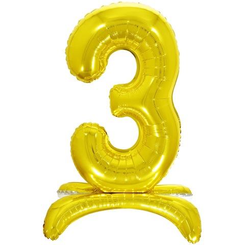 3 Цифры на подставке на пол, Золото, 81 см