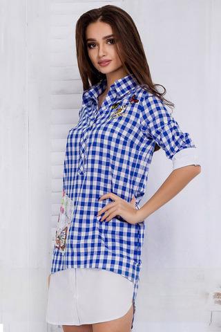 Платье-рубашка в клетку, с апликацией и камнями