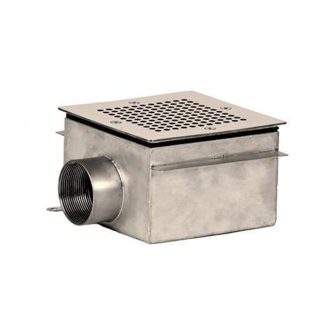 Донный слив квадратный 150х150х100 нержавеющая сталь AISI-304 внутреннее подключение 2