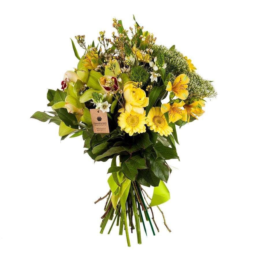 Букет из ранункулюсов и орхидей - Сочный цвет