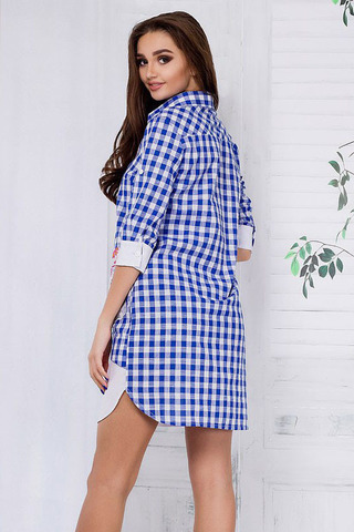 Платье-рубашка в клетку, с апликацией и камнями 1