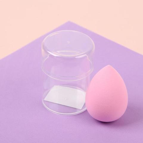 Спонж для нанесения косметики «Капля», увеличивается при намокании, в пластиковом футляре, цвет МИКС