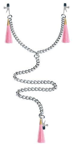 Зажимы на соски и половые губы с розовыми кисточками Nipple Clit Tassel Clamp With Chain