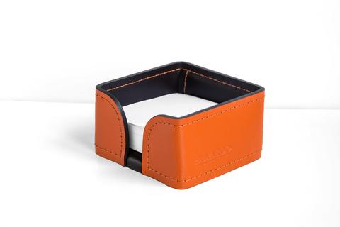 Лоток для блока бумаги из кожи цвет ОРАНЖ/ШОКОЛАД