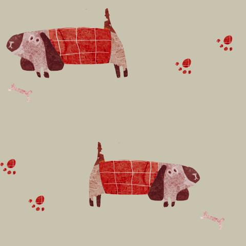 пес красный в клеточку