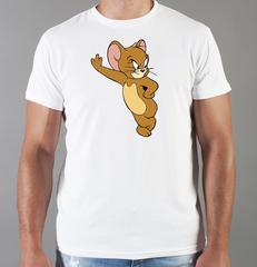 Футболка с принтом мультфильма Tom and Jerry (Том и Джерри), белая 004