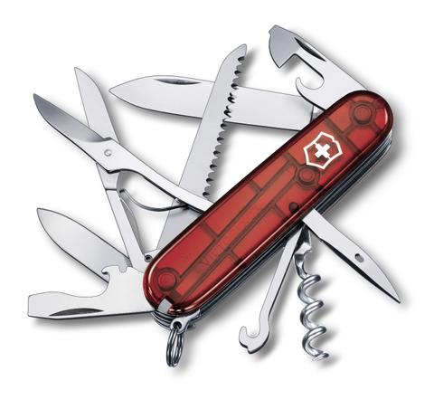Нож Victorinox Huntsman, 91 мм, 15 функций, полупрозрачный красный