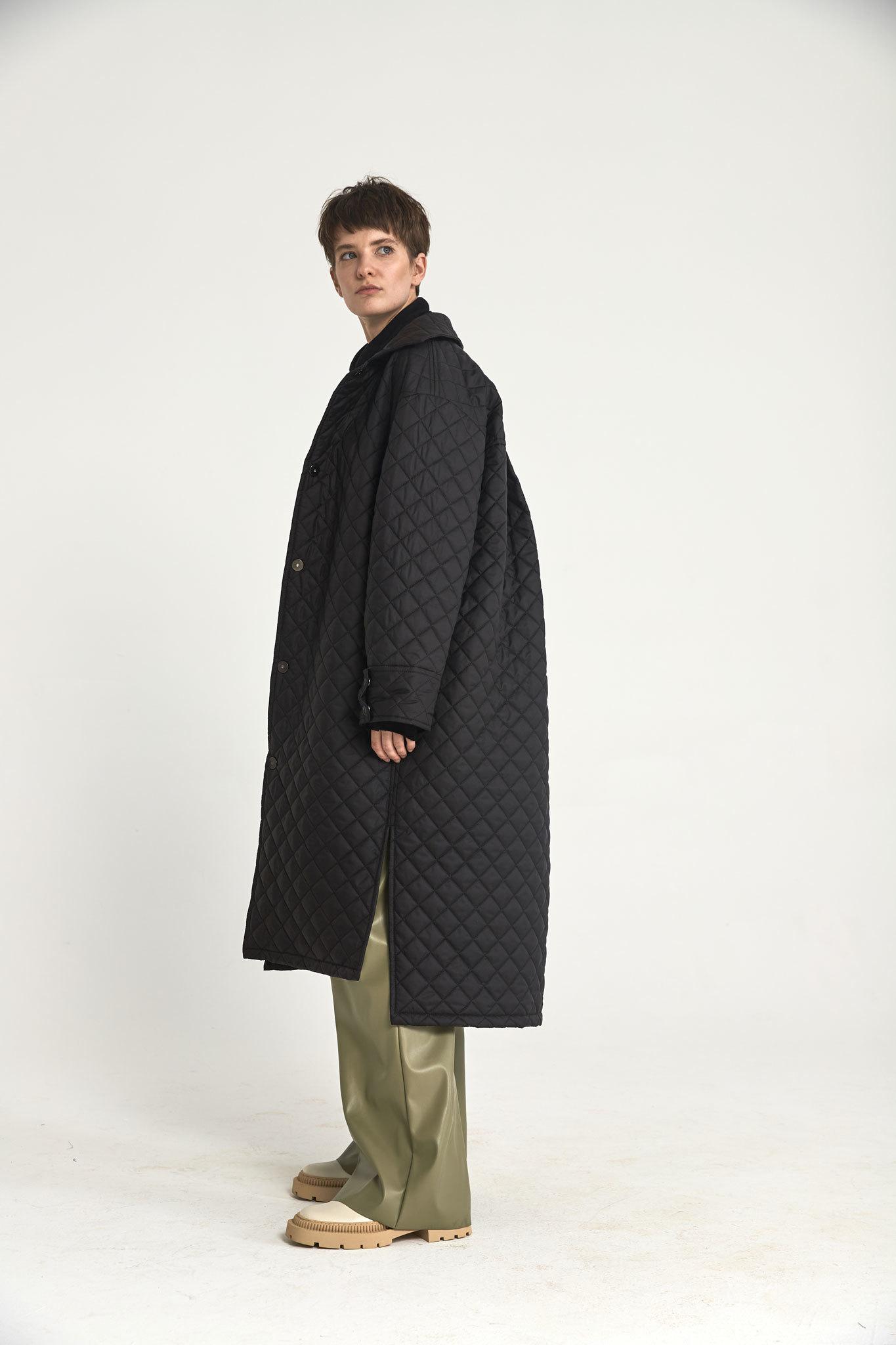 Пальто-рубашка на кнопках стеганое, угольно-черный