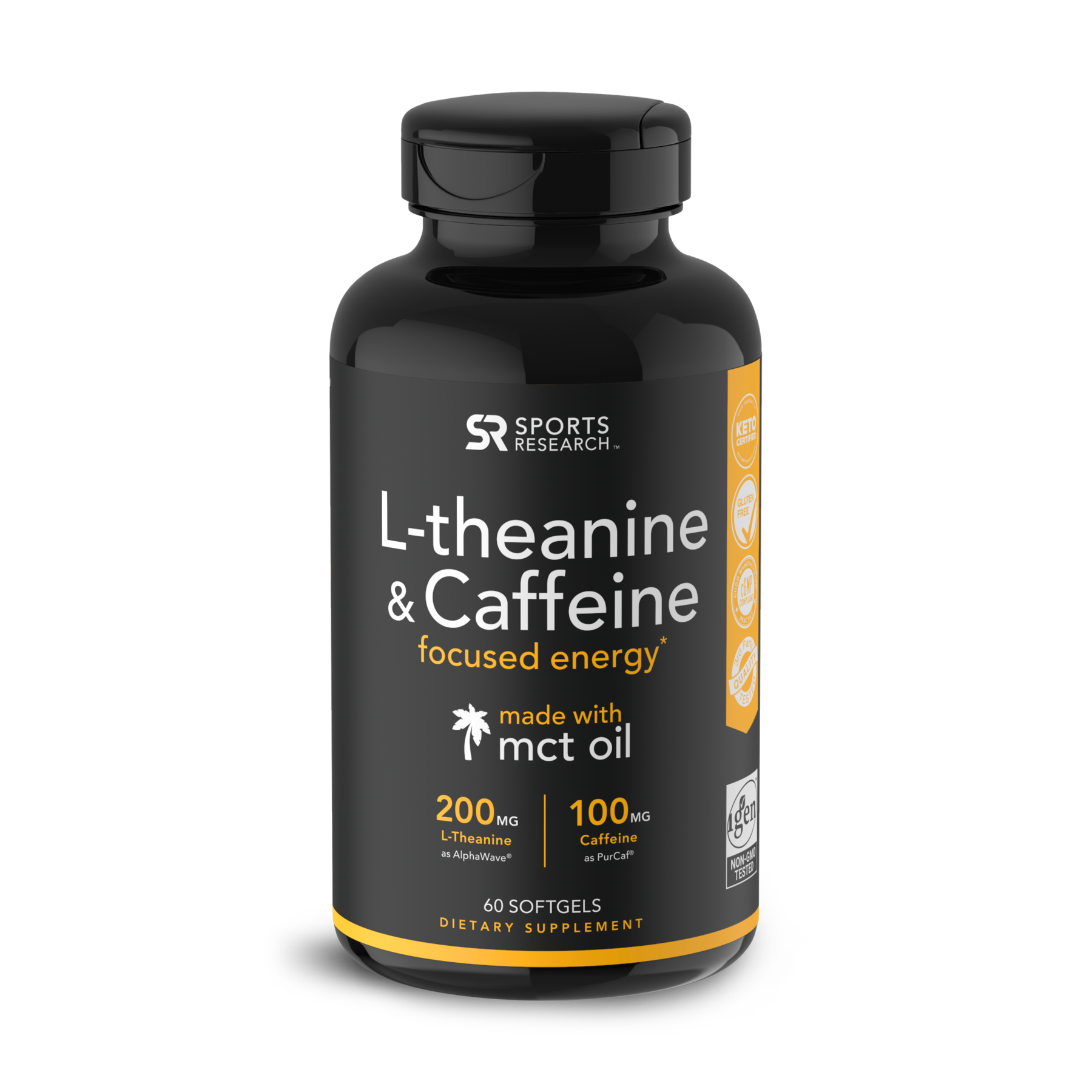 L-теанин и кофеин с маслом MCT, L-Theanine and Caffeine, Sports Research, 60 капсул