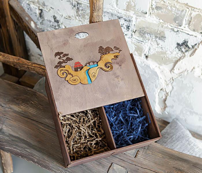 BOX233-3 Большая коробка «Синано» с художественной росписью (25*25*12 см) фото 09