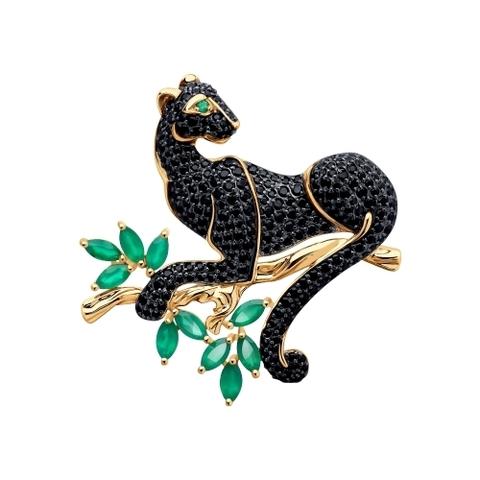740299 - Брошь Черная Пантера из золота с агатами и фианитами