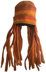 Шапка с оранжевыми дредами