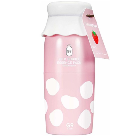 G9Skin Milk Bubble Essence Pack Strawberry клубничная кислородная маска-эссенция для жирной кожи