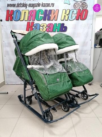 Санки-коляска для двойни NIKA KIDS 7-1Б (зелёные)