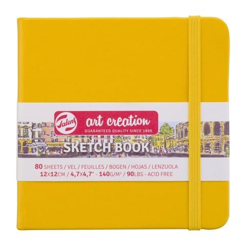 Блокнот для зарисовок Art Creation 140г/кв.м 12*12см 80л твердая обложка желтая