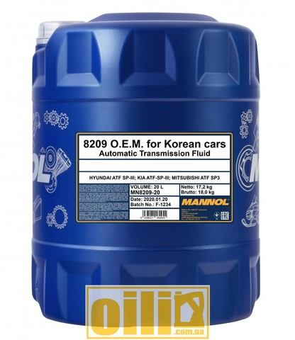 Mannol 8209 O.E.M. for KOREAN CARS (SP-III) 20л