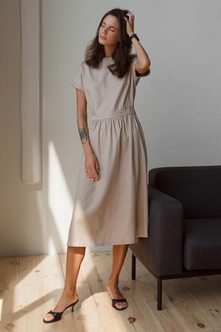Платье с открытой спиной на пуговицах, бежевый