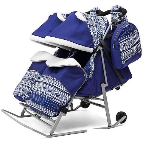 Санки коляска для двойни TWIN синий