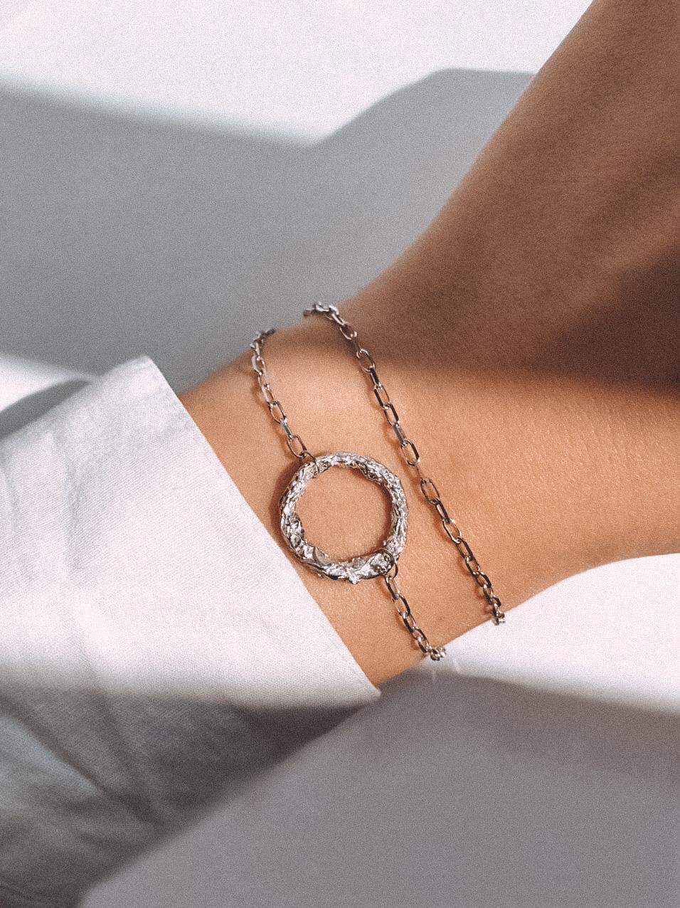 Серебряный двойной браслет