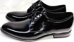 Классические туфли черные лаковые мужские Ikoc 2118-6 Patent Black Leather