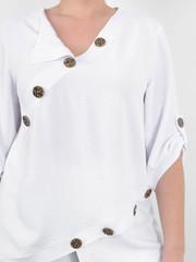 Гайя. Літня блузка плюс сайз. Білий.