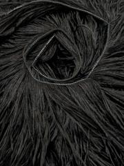 Премиум Тесьма  из перьев страуса на нитке в 2 слоя h 10-15 см., черный метраж