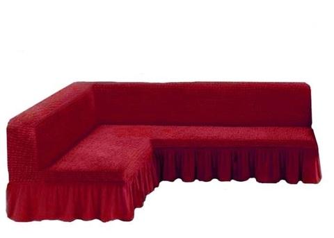 Чехол на угловой диван без подлокотников, бордовый