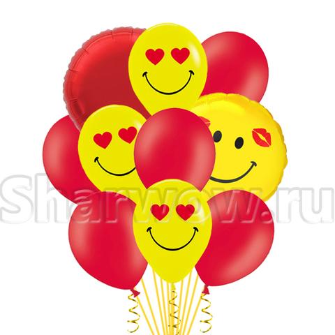 Красно-желтый букет шаров с влюбленными смайлами