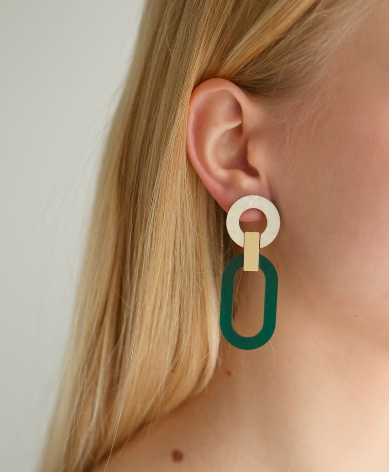 Серьги Lora II Earrings Dark Green