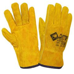 Перчатки рабочие Диггер спилковые желтые (утепленные искусственным мехом, размер 10.5)