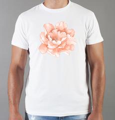 Футболка с принтом Цветы (Пионы) белая 008